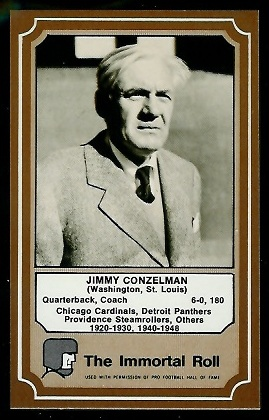 Jimmy Conzelman 1975 Fleer Immortal Roll football card