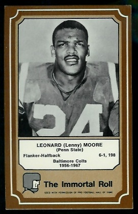 Lenny Moore 1975 Fleer Immortal Roll football card