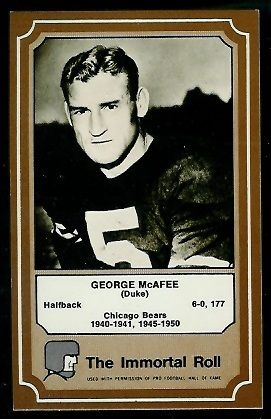 George McAfee 1975 Fleer Immortal Roll football card
