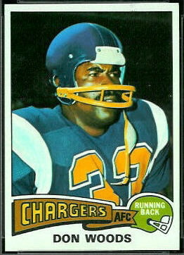 Don Woods 1975 Topps football card
