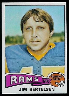 Jim Bertelsen 1975 Topps football card
