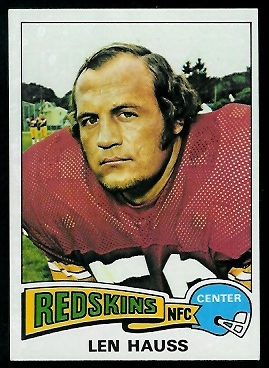 Len Hauss 1975 Topps football card