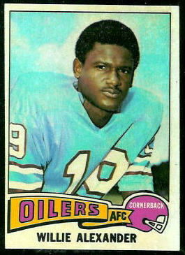 Willie Alexander 1975 Topps football card