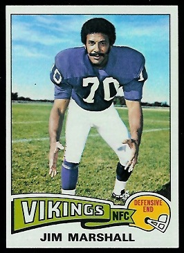 Jim Marshall 1975 Topps football card