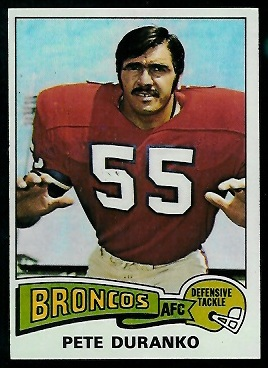 Pete Duranko 1975 Topps football card