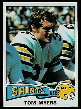 Tom Myers 1975 Topps football card
