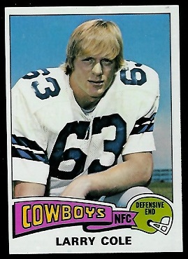 Larry Cole 1975 Topps football card