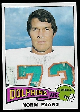 Norm Evans 1975 Topps football card