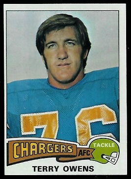 Terry Owens 1975 Topps football card