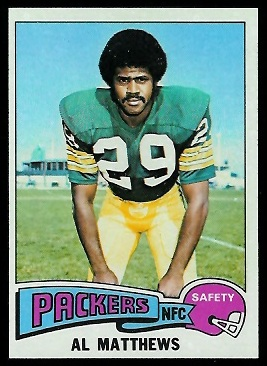 Al Matthews 1975 Topps football card