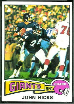 John Hicks 1975 Topps football card