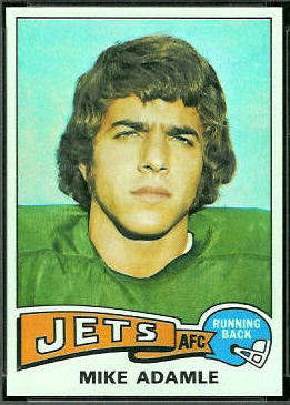 Mike Adamle 1975 Topps football card