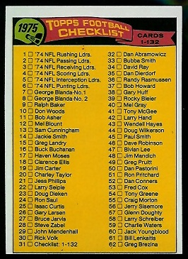 Checklist 1-132 1975 Topps football card