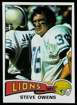 Steve Owens 1975 Topps football card