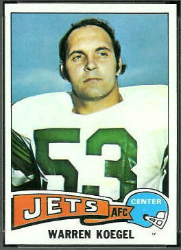 Warren Koegel 1975 Topps football card