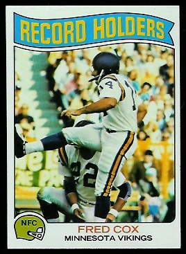 Fred Cox - Record Holder 1975 Topps football card