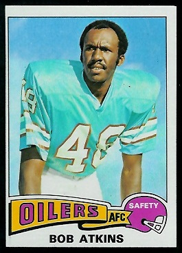 Bob Atkins 1975 Topps football card