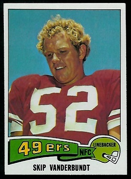 Skip Vanderbundt 1975 Topps football card