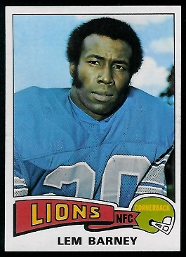Lem Barney 1975 Topps football card