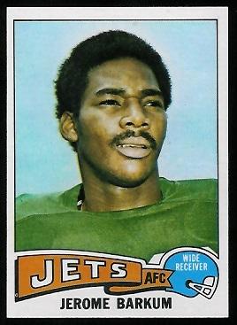Jerome Barkum 1975 Topps football card