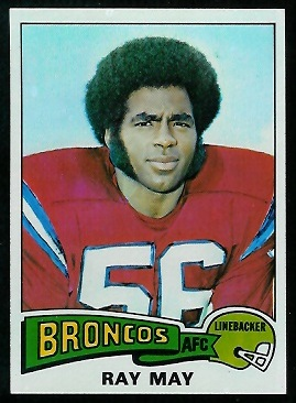Ray May 1975 Topps football card