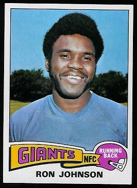 Ron Johnson 1975 Topps football card