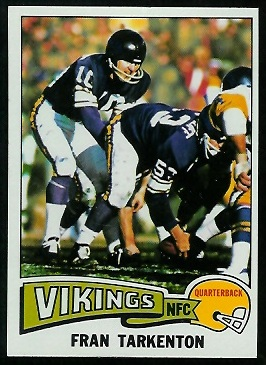 Fran Tarkenton 1975 Topps football card