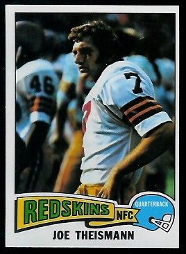 Joe Theismann 1975 Topps football card
