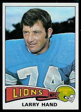 Larry Hand 1975 Topps football card