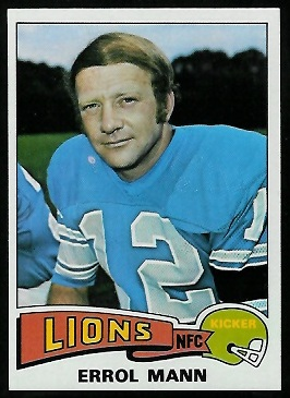 Errol Mann 1975 Topps football card