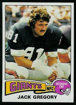 Jack Gregory 1975 Topps football card