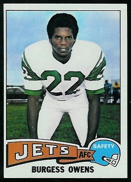 Burgess Owens 1975 Topps football card