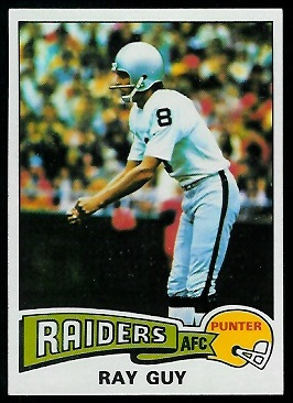 Ray Guy 1975 Topps football card
