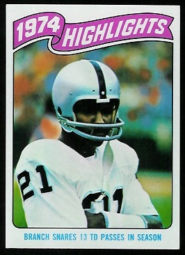 1974 Highlights: Branch snares 13 TD passes in season 1975 Topps football card
