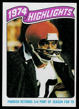 1974 Highlights: Parrish returns 3rd punt of season for TD 1975 Topps football card