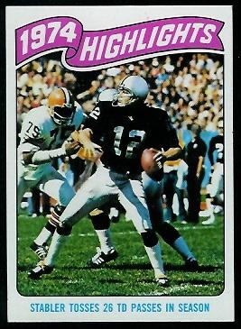 1974 Highlights: Stabler tosses 26 TD passes in season 1975 Topps football card