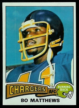 Bo Matthews 1975 Topps football card