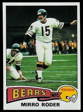Mirro Roder 1975 Topps football card