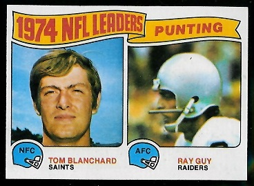 1974 Punting Leaders 1975 Topps football card