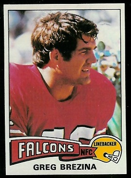 Greg Brezina 1975 Topps football card