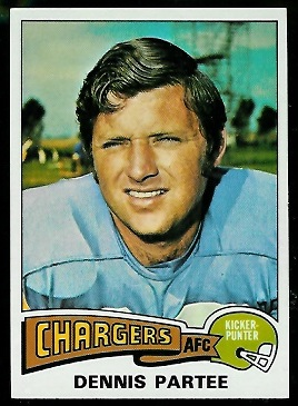 Dennis Partee 1975 Topps football card