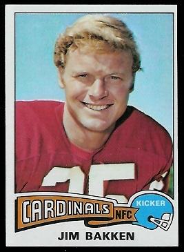 Jim Bakken 1975 Topps football card