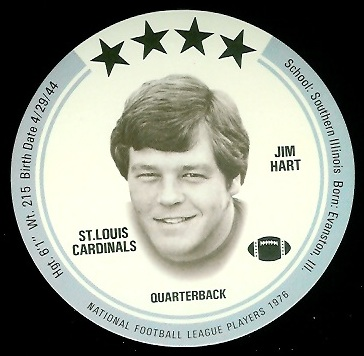 Jim Hart 1976 Buckmans Discs football card