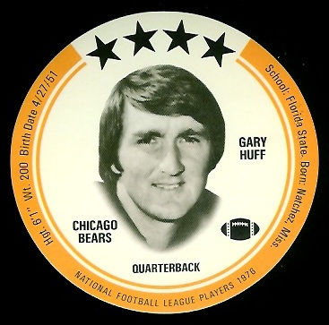 Gary Huff 1976 Buckmans Discs football card