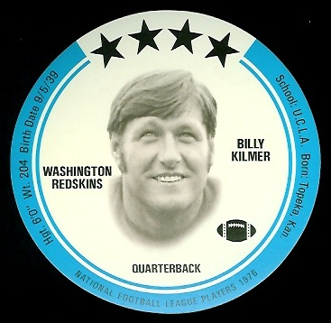 Bill Kilmer 1976 Buckmans Discs football card
