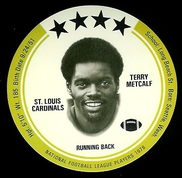 Terry Metcalf 1976 Buckmans Discs football card