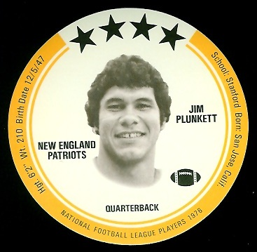 Jim Plunkett 1976 Buckmans Discs football card