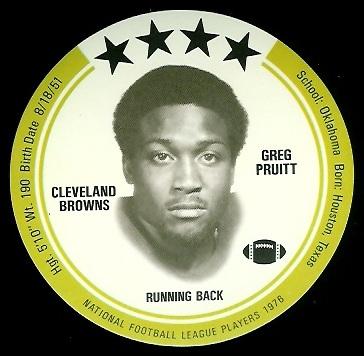 Greg Pruitt 1976 Buckmans Discs football card