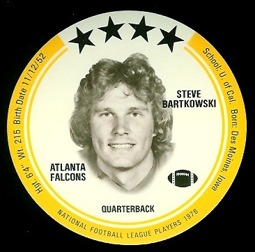 Steve Bartkowski 1976 Buckmans Discs football card