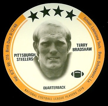 Terry Bradshaw 1976 Buckmans Discs football card